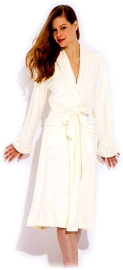 Wrap Up by VP Cream Microfiber Long Robe, S/M