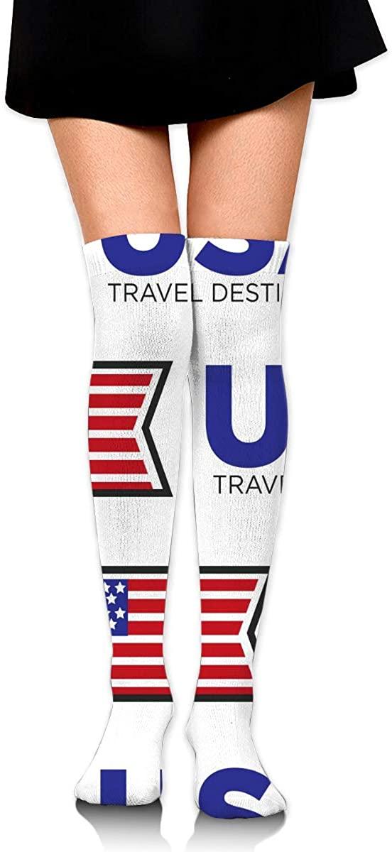 Dress Socks Usa Travel National Flag Long Knee Hose Soccer Hold-Up Stockings