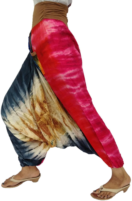 Royal Kraft Tie Dye 2 Side Pockets Elastic Waist Elastic Ankle Rayon Beautiful Harem Pant