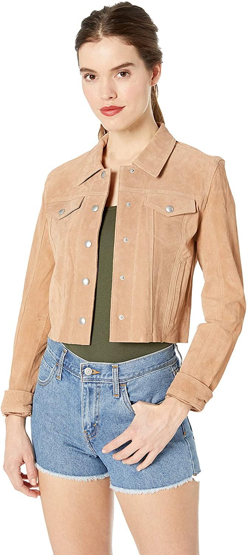 [BLANKNYC] Women's CROPPED TRUCKER Outerwear, -hazelnut