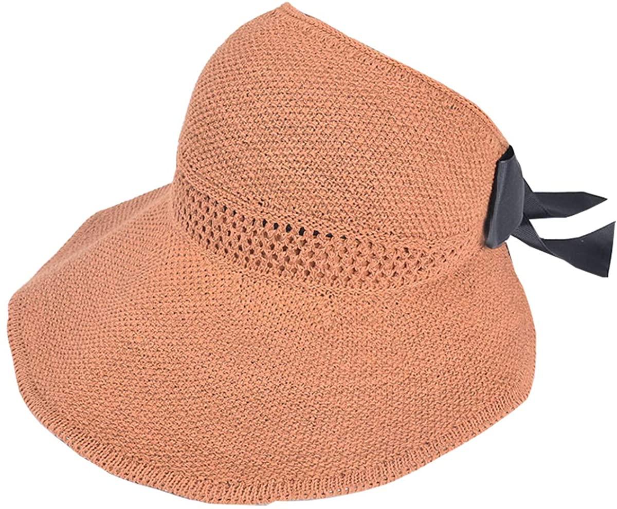 ZTXION Women's Sun Visor, Wide Brim Foldable Cotton Summer Beach Sun Hat with Bowtie