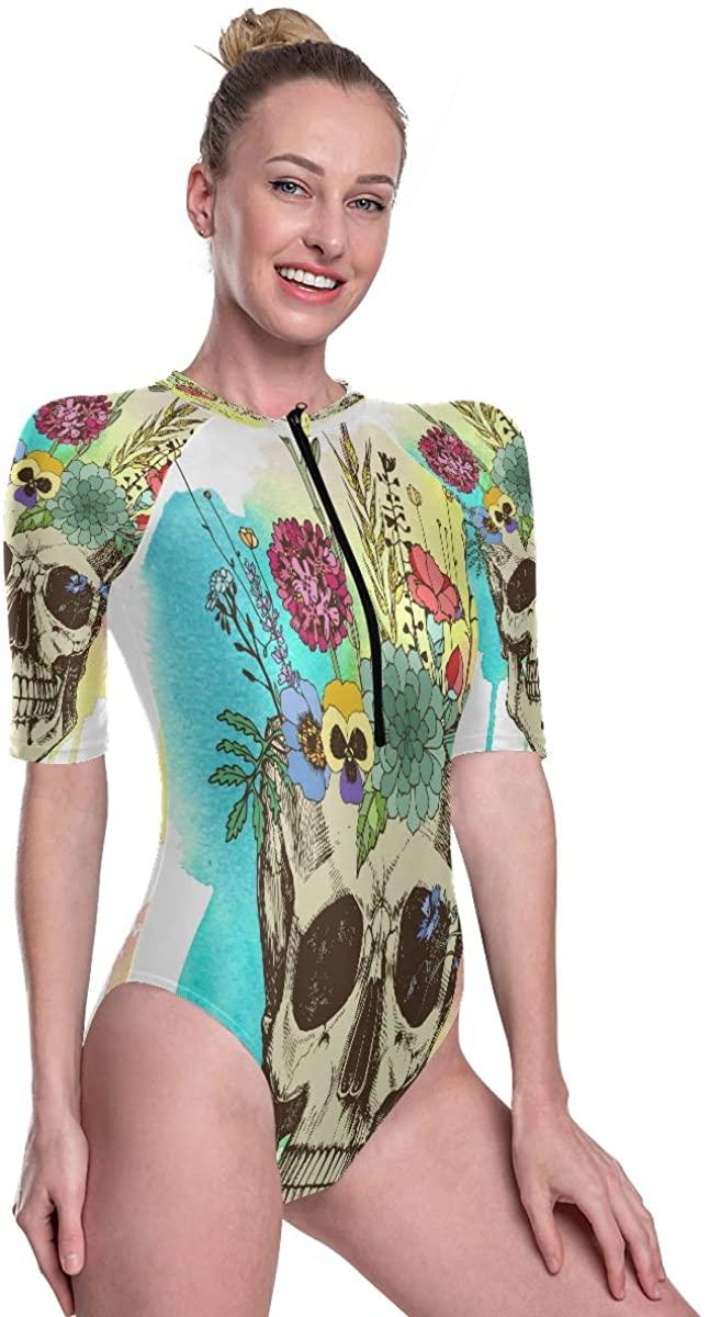 Womens Zip Up Printed Short Sleeve 1 Piece Rash Guard Swimsuit Flower Vase Made in Skull Fantastic Swimwear