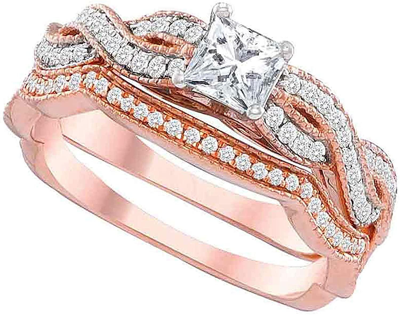 Dazzlingrock Collection 0.73 Carat (Ctw) 14K Rose Gold Princess Diamond Bridal Wedding Ring Set 3/4 Ctw (Certified), 14K Rose Gold