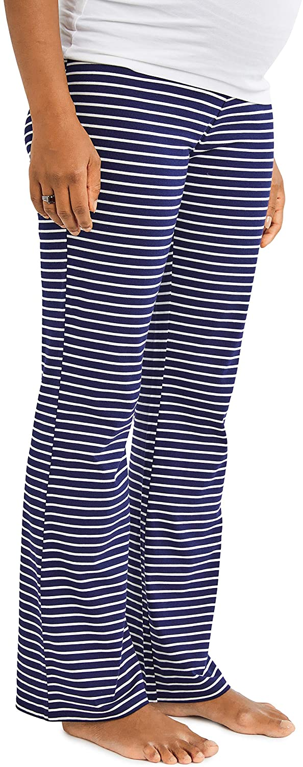 Motherhood Maternity Women's Full Length Sleep Knit Pants, Navy Stripe, Small