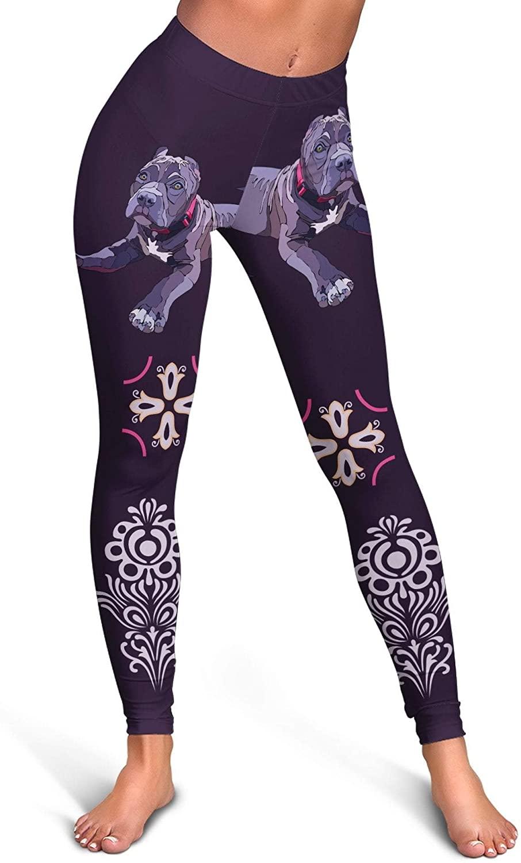 Paws With Attitude Pit Bull Dog Print Full Length Leggings - Mardi Gras