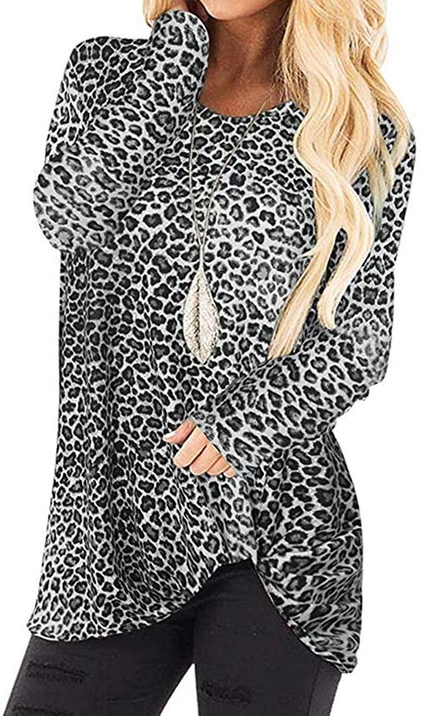 Pandaie Women's Casual T Shirts Twist Knot Leopard Print Tunics Tops Round Neck Long Sleeve Blouse