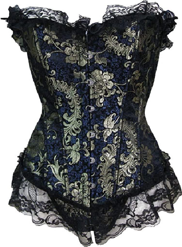 Alivila.Y Fashion Womens Vintage Brocade Lace Corset 803-Blue-6XL