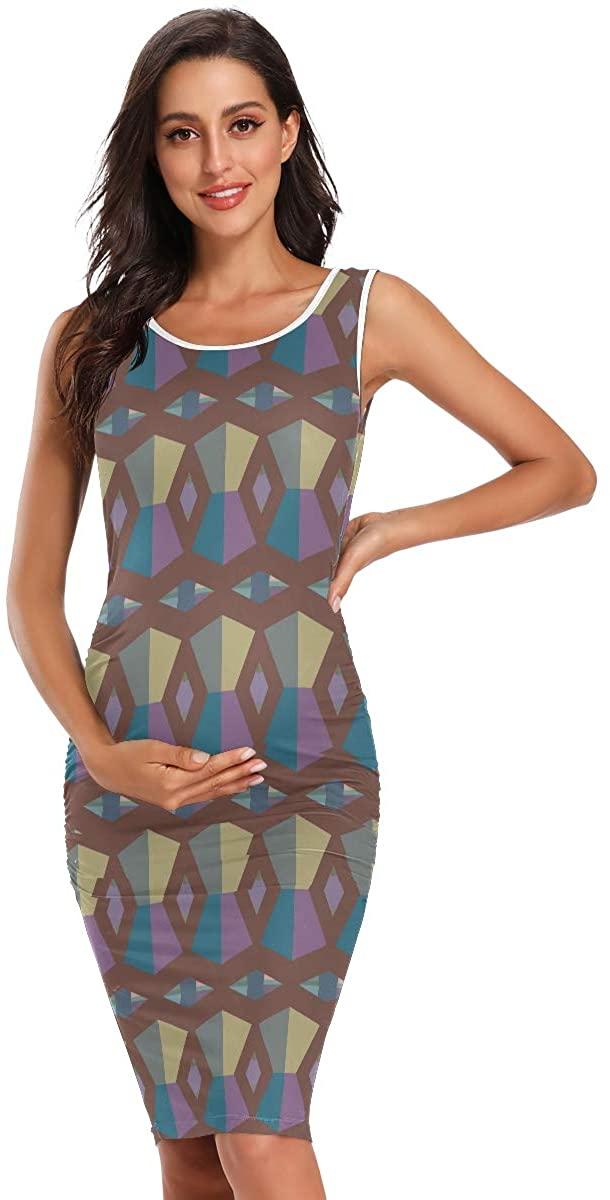 SLHFPX Vector Geometric Ornamental Women's Maternity Dresses Casual Pregnancy Dresses Bodycon Midi Clothes