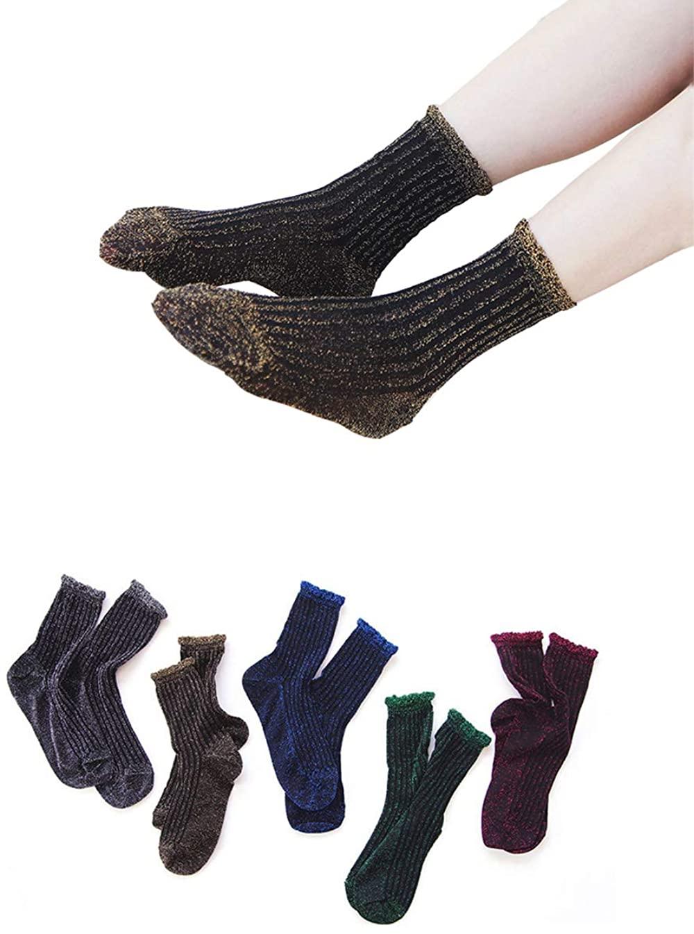Flycheers Women's Hosiery Sparkly Shimmer Sock Ankle Socks Casual Ladies Bright Retro Sox Piles Sock 5 Pack