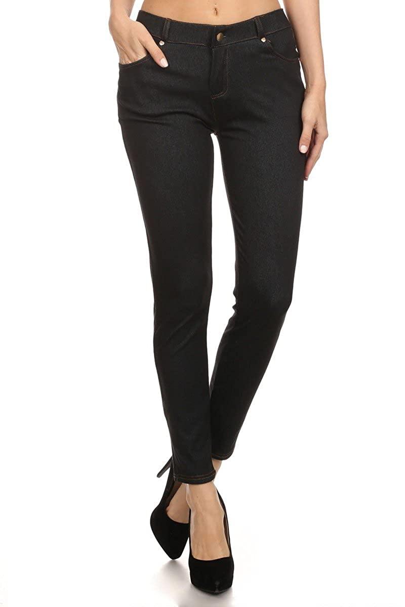 LA12ST Women's Colored Jean Look Jeggings Tights Spandex Leggings Denim Pants