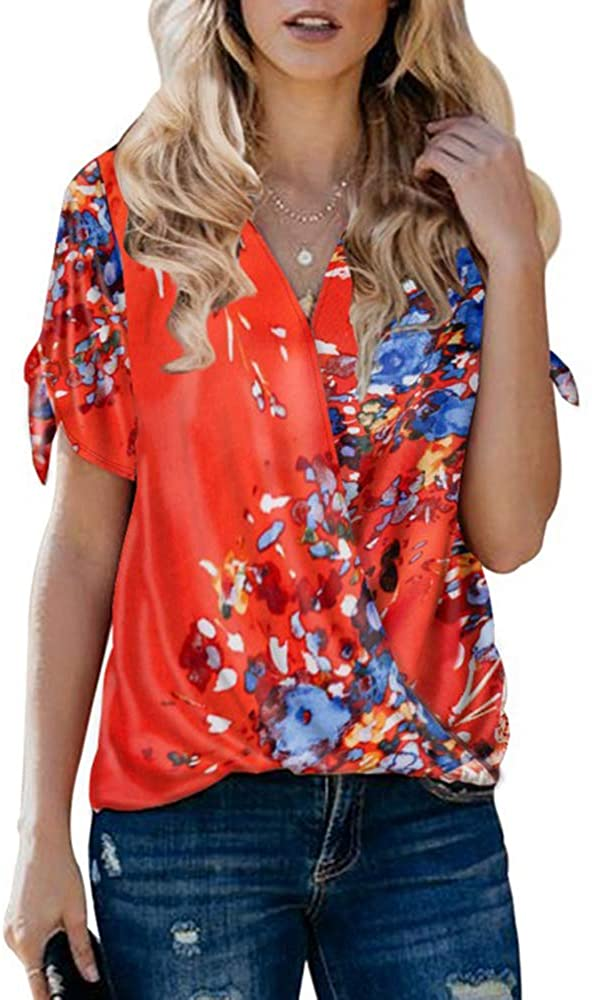 Gemijack Womens Floral Tops Wrap Front Chiffon V Neck Short Sleeve Drape Loose Shirt