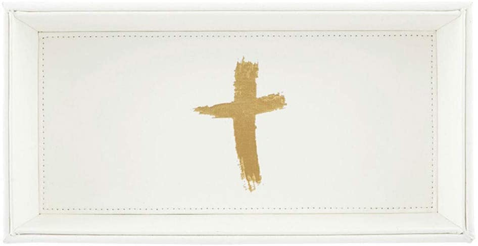 White and Gold Cross Icon Valet Tray, 10