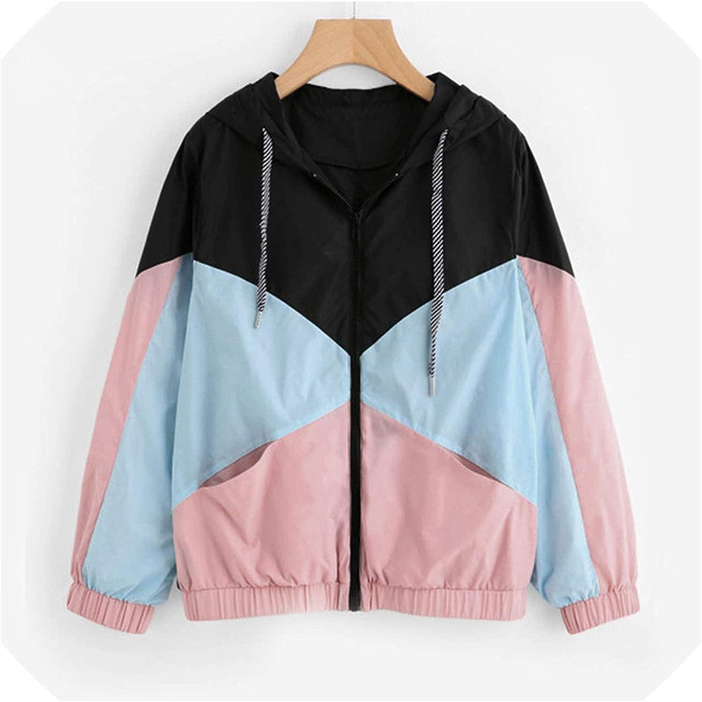 Hoodie Women Blouse Jackets Long Sleeve Patchwork Thin Skinsuits Hooded Zipper Pockets Sport Coat