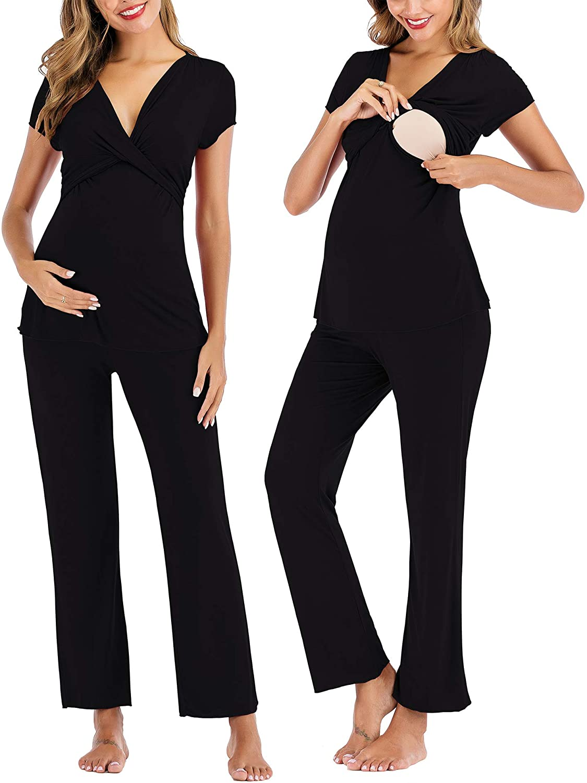 Women Maternity & Nursing Pajama Set for Breastfeeding Short Sleeve Hospital PJS Pregnancy Sleepwear