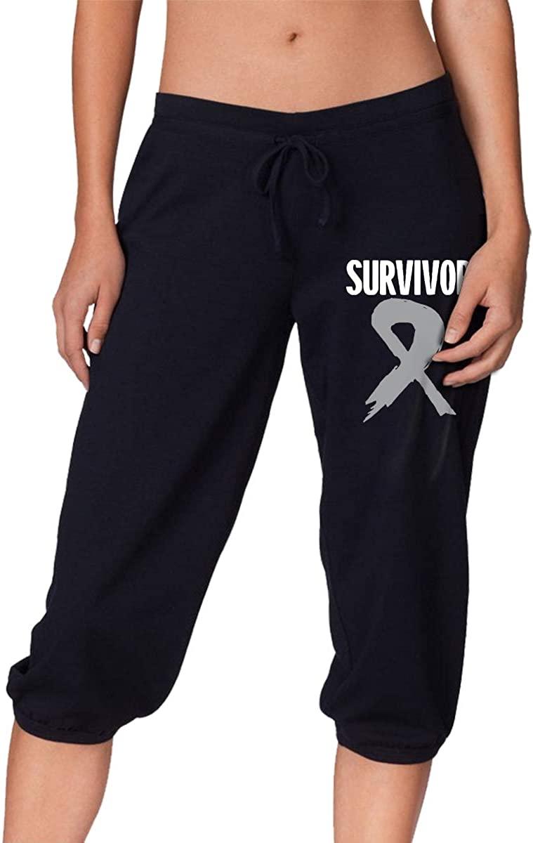 Survivor Brain Cancer Awareness Flag Women's Stretch Workout Knee Pants Leggings