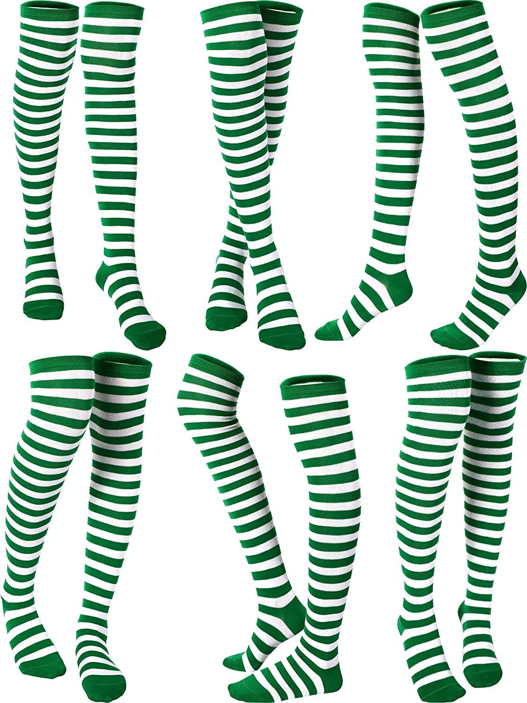 6 Pairs St. Patricks Day Extra Long Green Striped Over Knee Socks Mardi Gras Thigh High socks for Women Girls