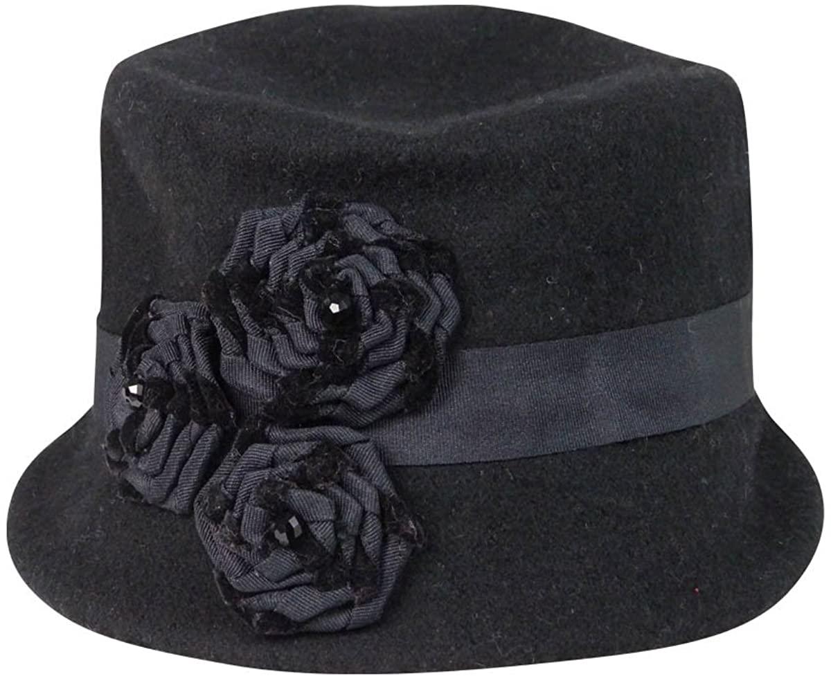 Nine West Women's Wool Knit Microbrim with Velvet Rosette One Size Black