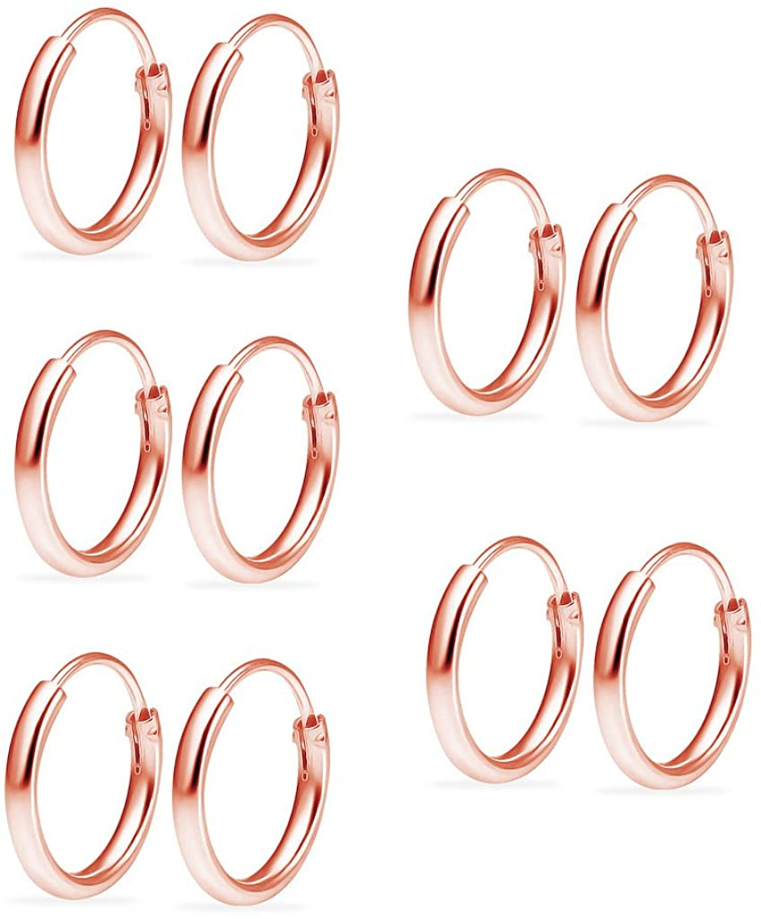 Sterling Silver Endless Hoops Small 10mm Earring Set of 5 Pair.