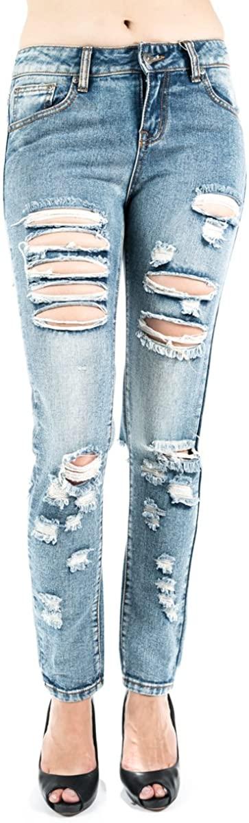 Women's Boyfriend rips Distressed Jeans