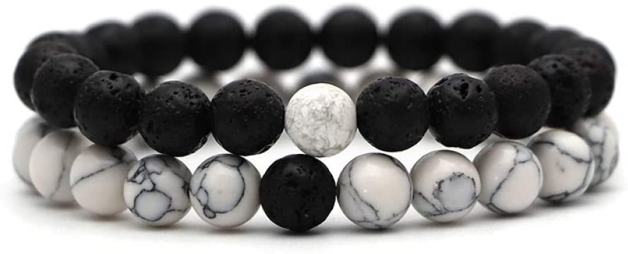 BXZ Stone Bracelet,Volcanic Stone Black Bracelet 2Pcs Set Couples Distance Bracelet Classic Natural Stone Beaded Bracelets for Men Women Birthday Wedding Party