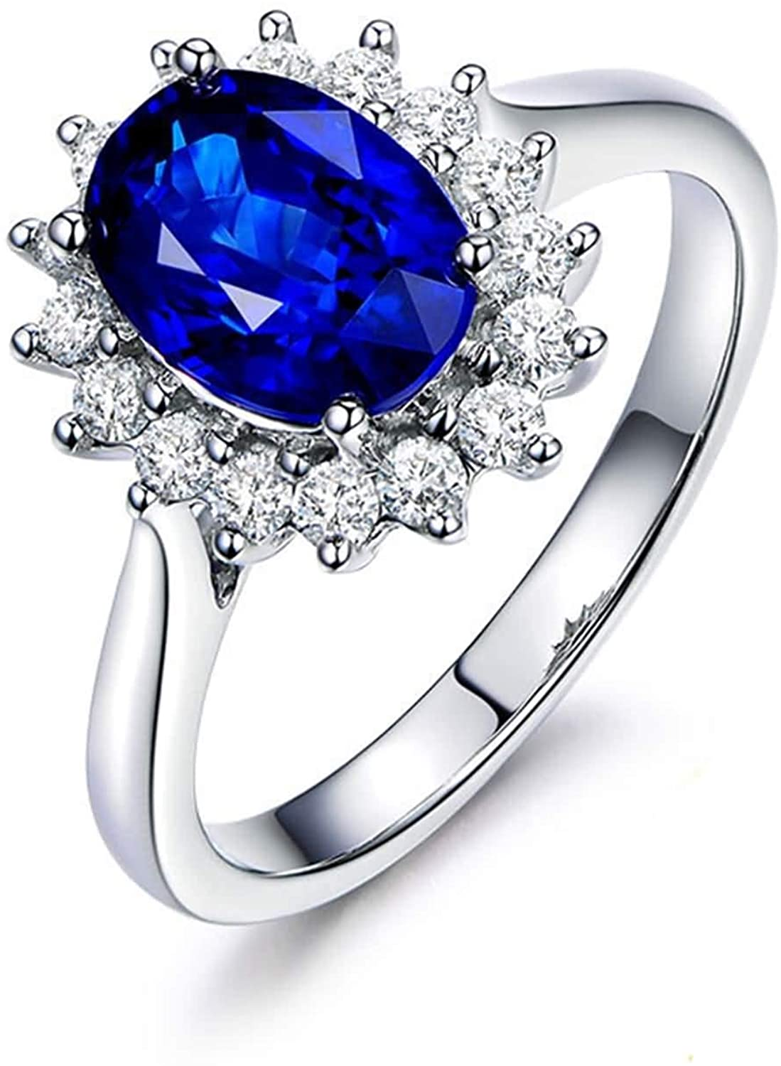 AMDXD Women Ring 18K White Gold, Halo 0.56ct Oval Sapphire with 0.12ct Diamond Anniversary Ring Bands for Women White Gold Size 9