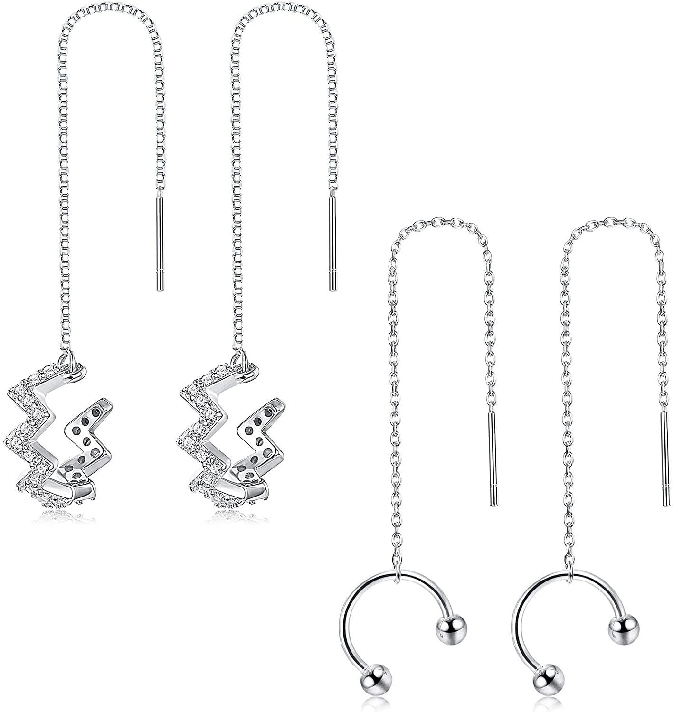 LOYALLOOK 925 Sterling Silver Ear Cuff Earrings for Women CZ Wrap Tassel Chain Earrings Cartilage Crawler Earrings Wave Threader Earrings, 2 Pairs