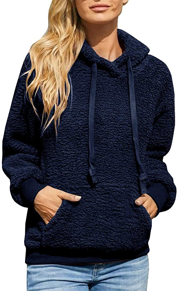 Beautife Womens Fuzzy Sweatshirts Hoodie Casual Fleece Sherpa Pullover Winter Coats with Pockets