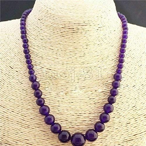 Beading 6-14mm Purple Jade Round Gemstone Tower Beads Necklace 17''