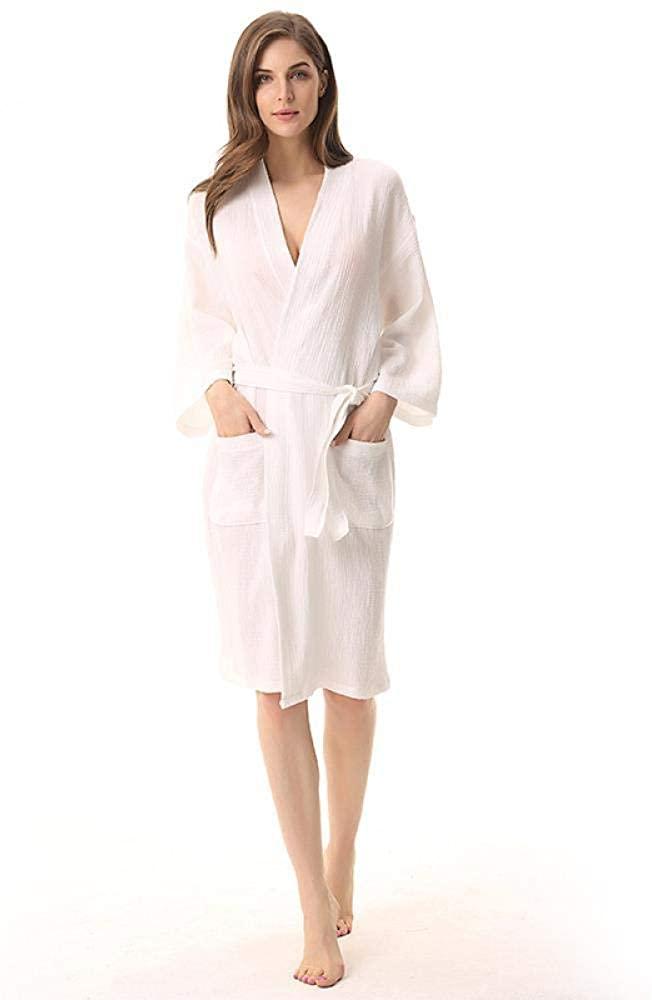 Plain Thin Bathrobe Double-Layer Washed Gauze Lady's Nightgown, M, White