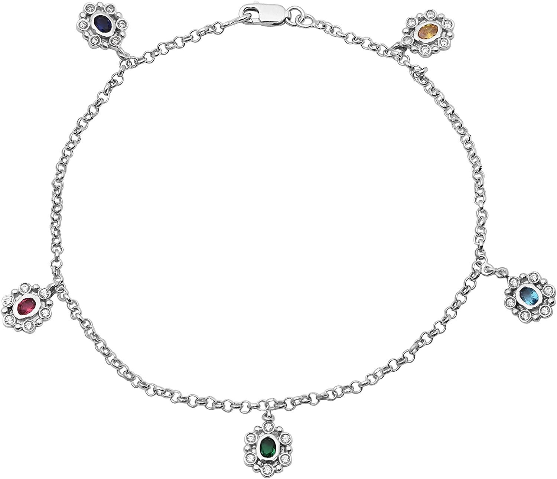 Shine Jewel Party Wear Multi Cubic Zirconia Gemstone 925 Sterling Silver Anklet 1pc