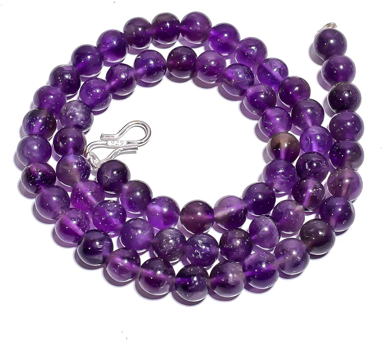 Unique Beads Natural Amethyst Gemstone Round Gemstone Smooth Beads Necklace 17
