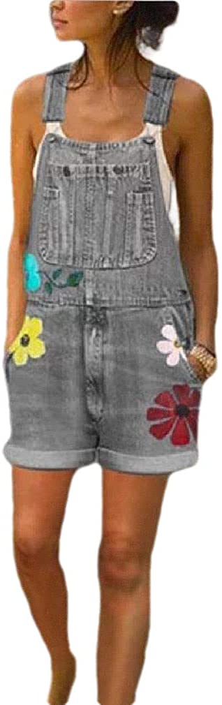 AngelSpace Women's Short Floral Print Denim Casual Washed Plus Size Bib Overalls