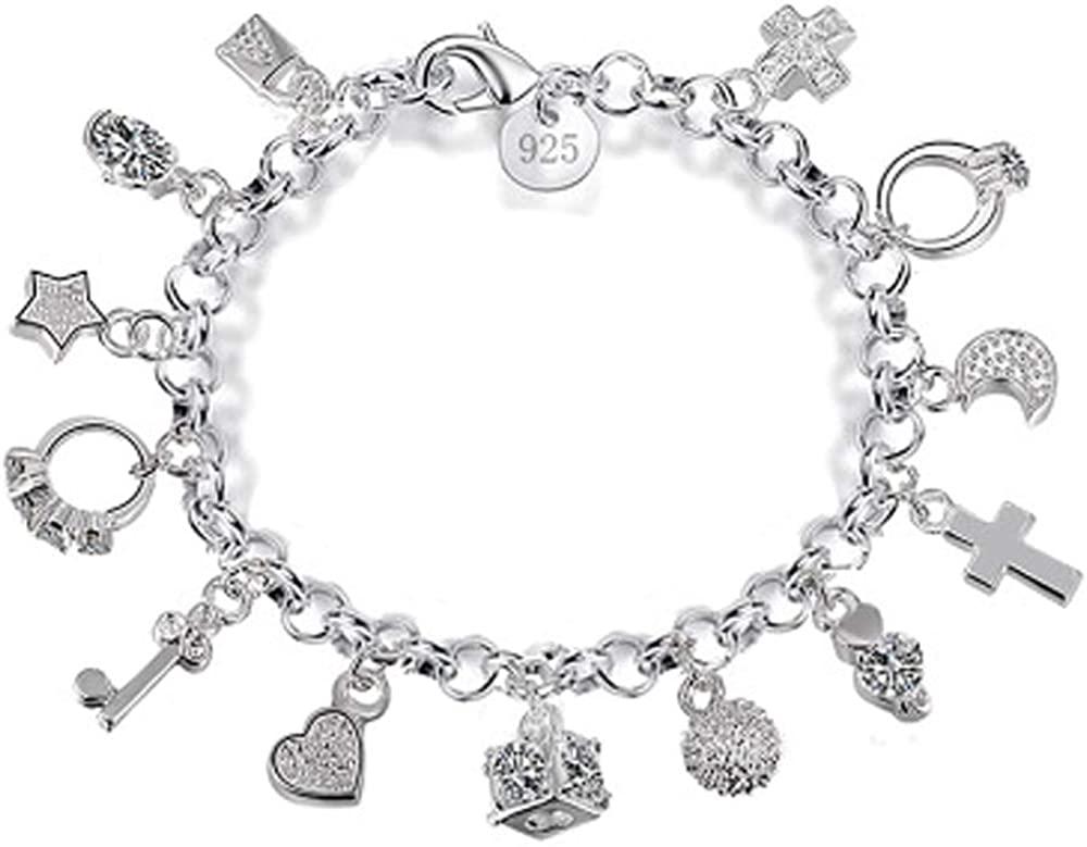 Aeora S925 Silver Thirteen Hanging Pieces Bracelet for Women Gift Bracelets & Bangles Jewelry
