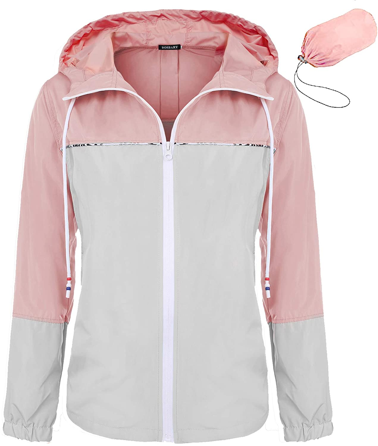 bosbary Women's Raincoats Waterproof Packable Windbreaker Active Outdoor Hooded Lightweight Rain Jacket(Gray/Pink,Small)