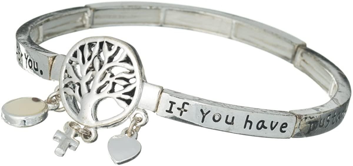 Jewelry Nexus Tree of Life Seed of Faith Heart & Cross Charm Stretch Inspirational Bracelet