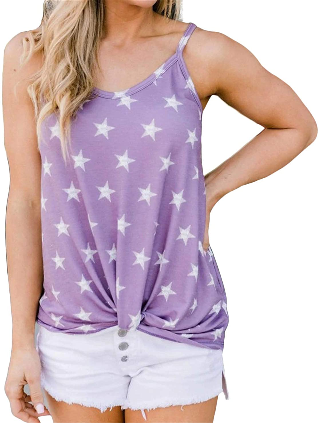Paixpays Sleeveless Sling Casual Star Print Basic Vest Top