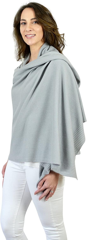 Grey pure cashmere travel wrap scarves stole pashmina shawls180 x 70 cm