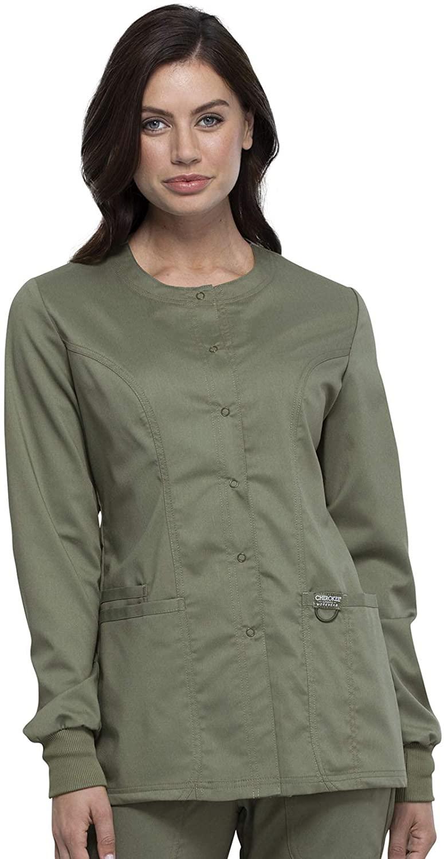 CHEROKEE WW Revolution Snap Front Scrub Jacket, WW310, 5XL, Olive