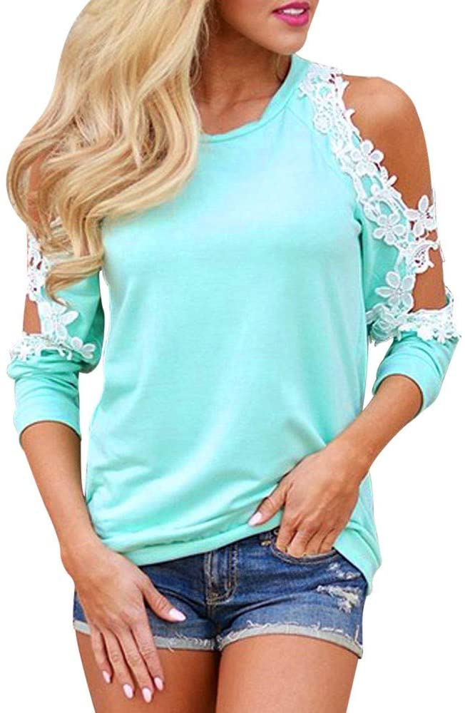 T-Shirts for Women,Adelibe Women's T-Shirt Shirt Fashion Strapless Lace Long Sleeve Shirt Top Blue