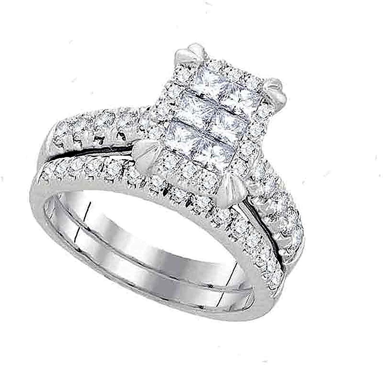 Dazzlingrock Collection 1.5 Carat (Ctw) Princess Diamond Bridal Wedding Ring Set 1-1/2 Ctw, 14K White Gold