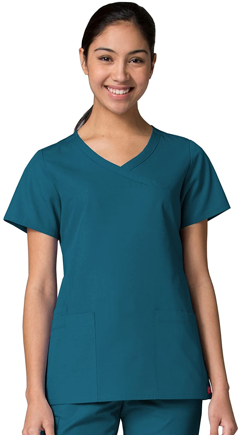 Red Panda Maevn Women's Curved Mock Wrap Top(Caribbean Blue, XXXXX-Large)