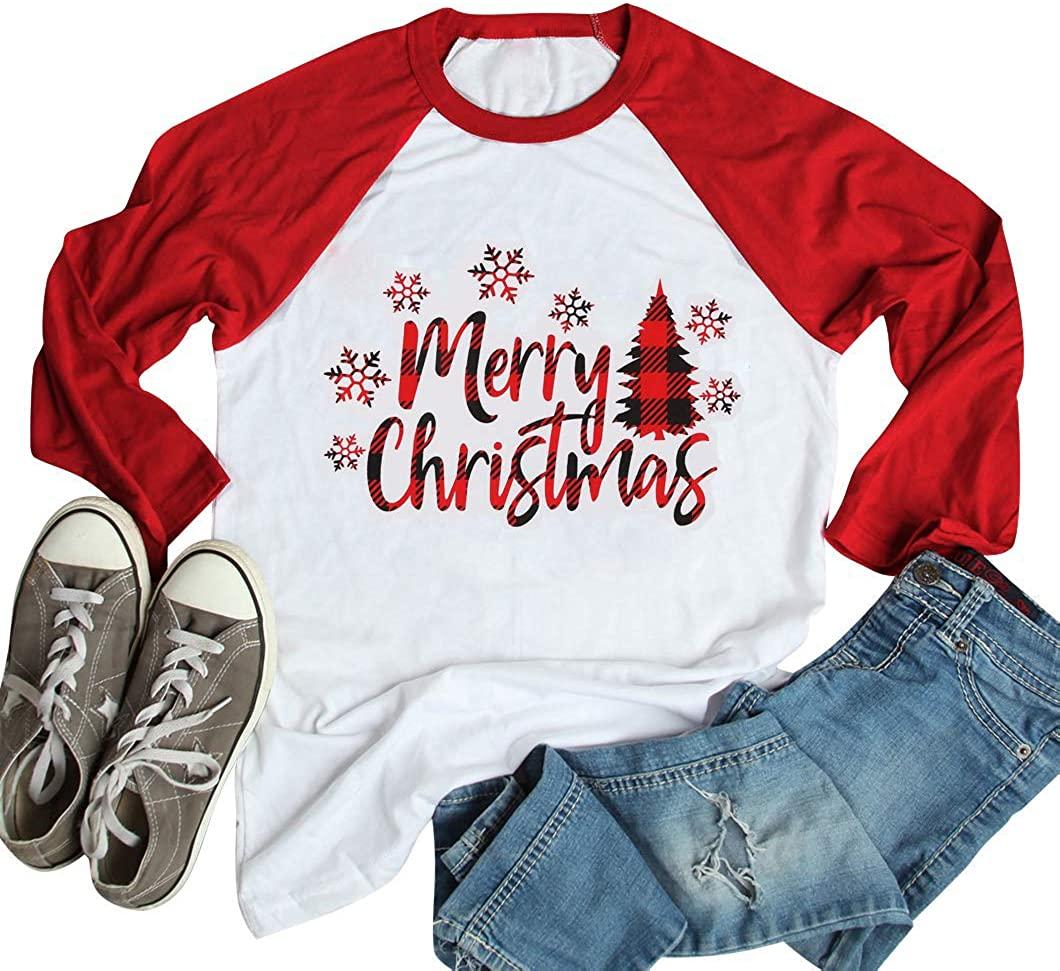 ALLTB Christmas Tree Truck Shirts Leopard Christmas Shirts for Women Christmas Tee Shirts (red1, Large)