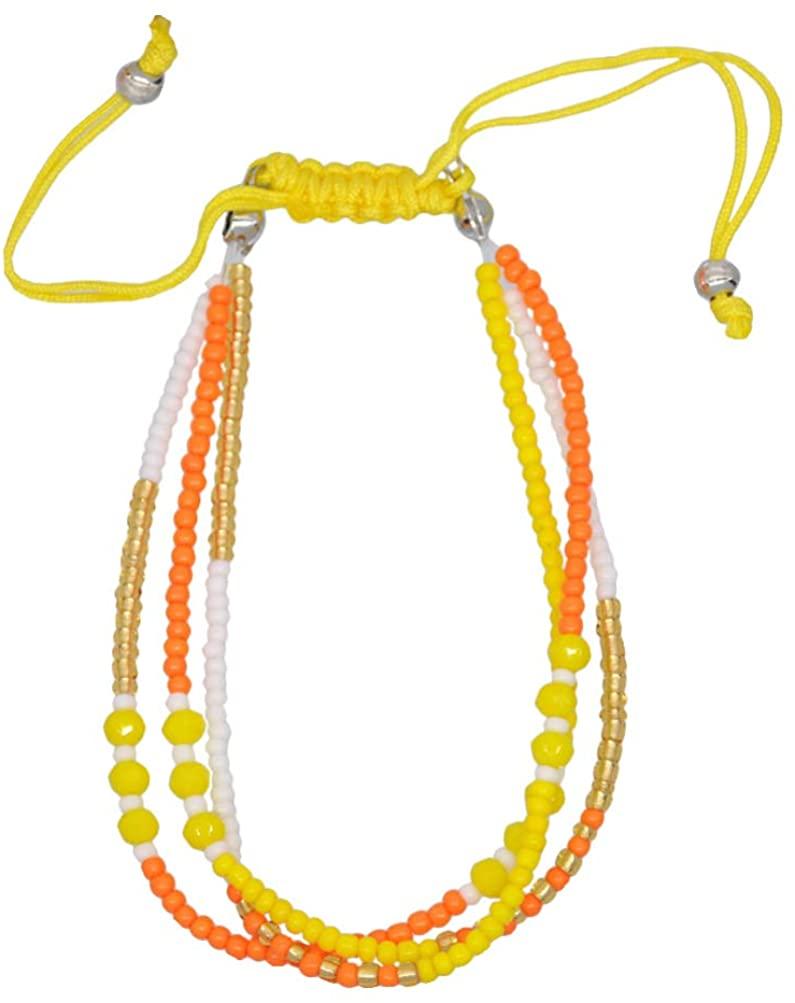 Happyyami Bohemian Charm Bracelet Braid Bead Bangles Wrist Chain Colorful Anklets Wristband Twist Rope Wrap Jewelry for Friens Beach Travel (Red)