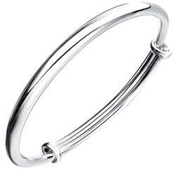 Aland Bracelet,Fashion Simple Women Glossy Open Ended Silver Plated Bracelet Bangle Jewelry Silver