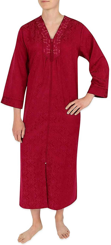 Miss Elaine Brushed Back Satin Full Zip Robe 866179