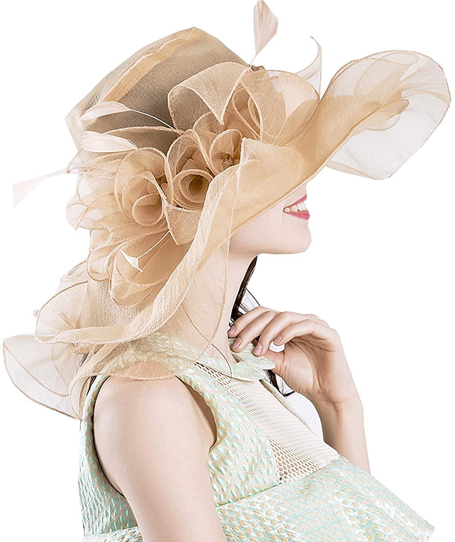 Bellady Womens Kentucky Derby Hats Cocktail Tea Party Bridal Dress Fancy Cap Organza Church Hat