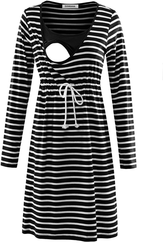 GINKANA Womens Long Sleeve Stripe Maternity Dress Nursing Breastfeeding Dresses with Pockets