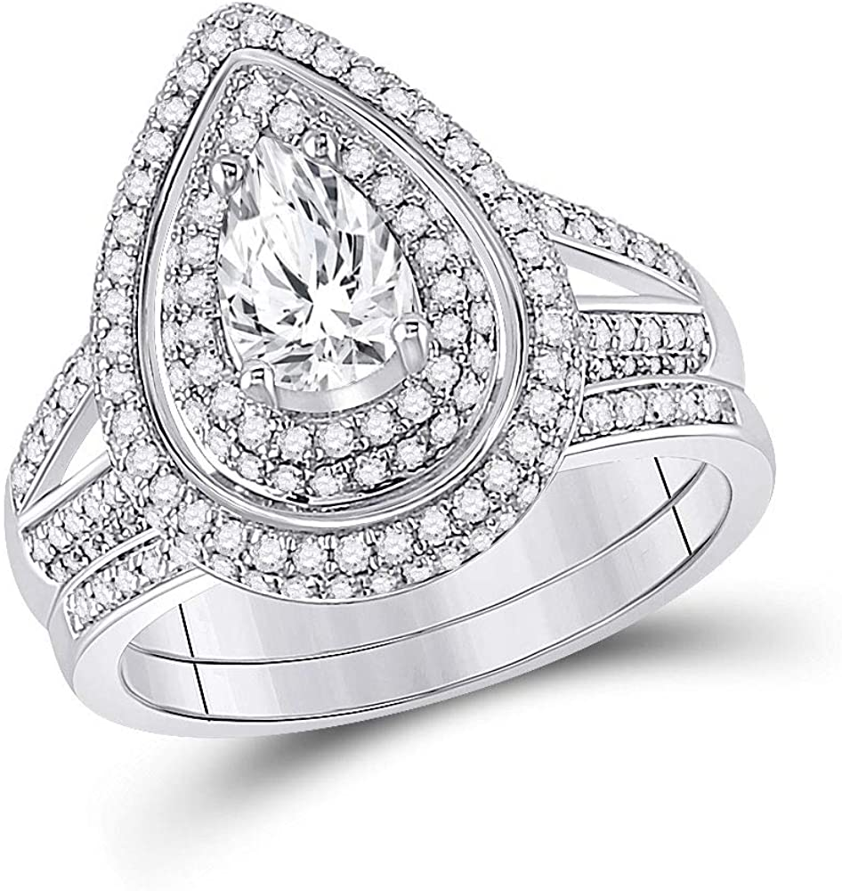 Dazzlingrock Collection 14kt White Gold Pear Diamond Bridal Wedding Ring Band Set 1-1/2 Cttw