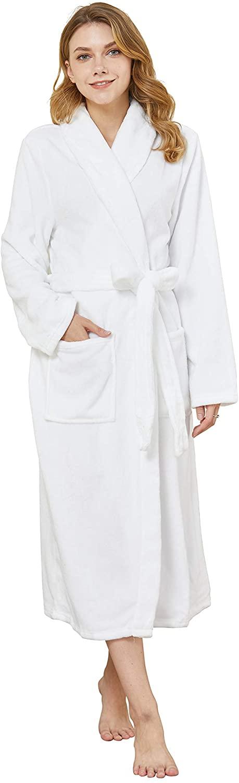 Womens Soft Warm Fleece Robe Bathrobe