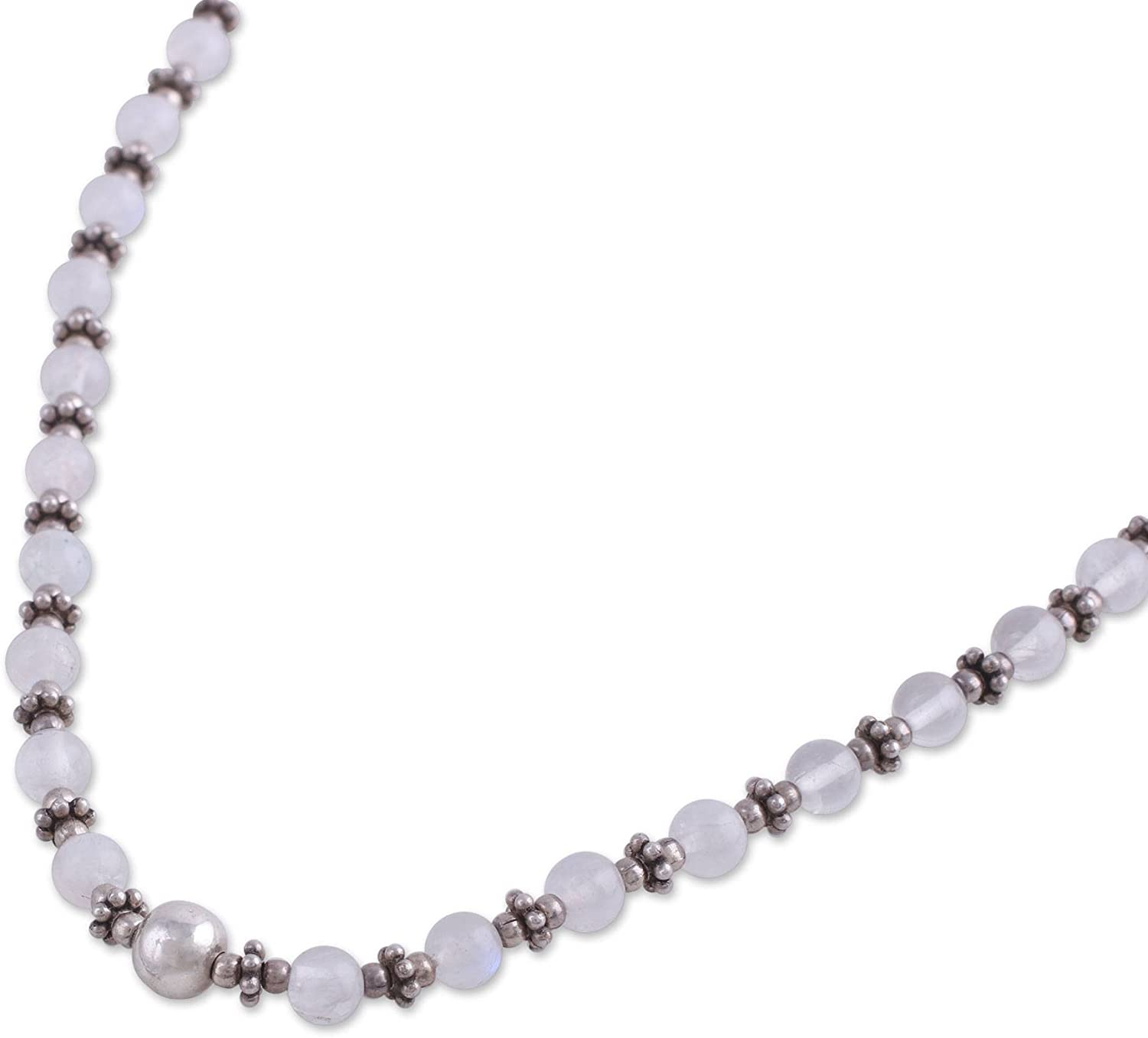 NOVICA Rainbow Moonstone .925 Sterling Silver Beaded Necklace, 16.5